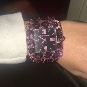 Betsey Johnson pink cheetah crystal watch